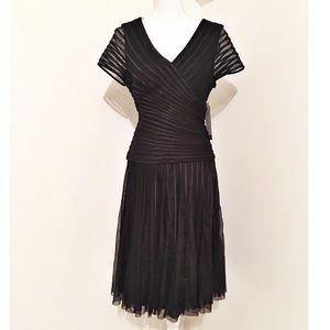 JSC drop waist black midi cocktail dress